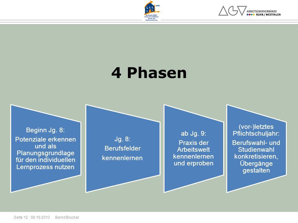 08.10.2013 Bernd Brucker Seite 12 4 Phasen Beginn Jg. 8: Potenziale erkennen und als Planungsgrundlage für den individuellen Lernprozess nutzen Jg. 8: