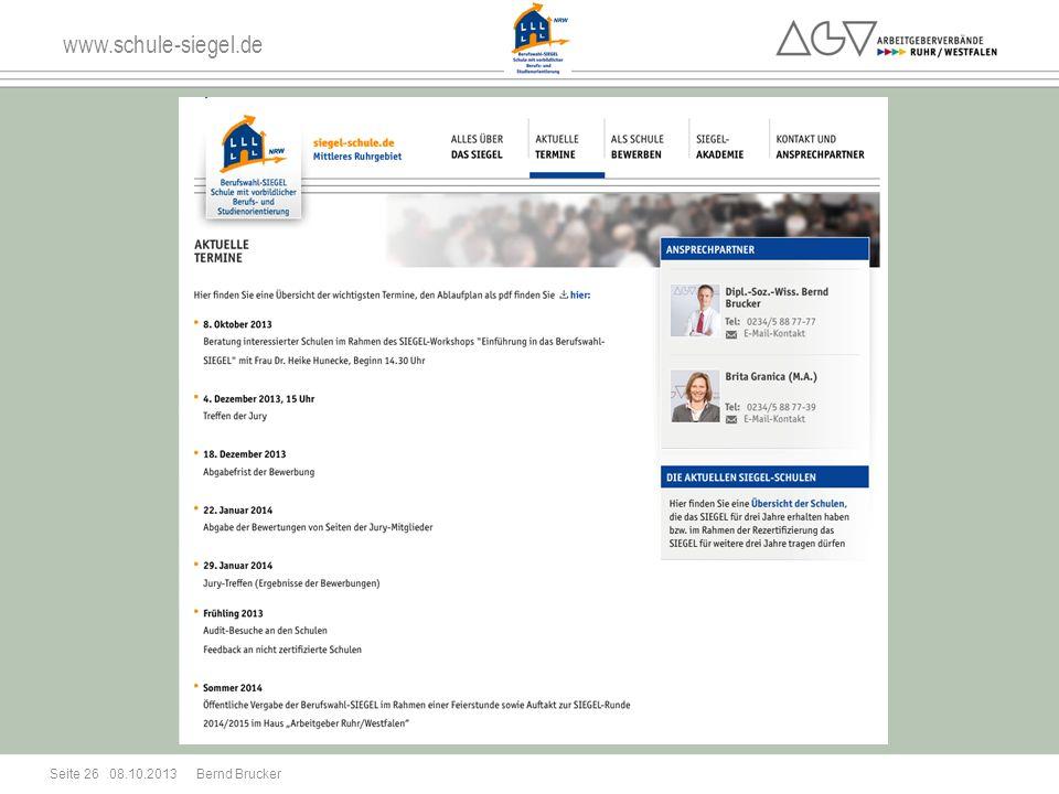 www.schule-siegel.de 08.10.2013 Seite 26 Bernd Brucker