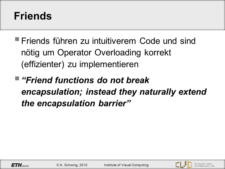 © A. Schwing, 2010Institute of Visual Computing Friends Friends führen zu intuitiverem Code und sind nötig um Operator Overloading korrekt (effiziente