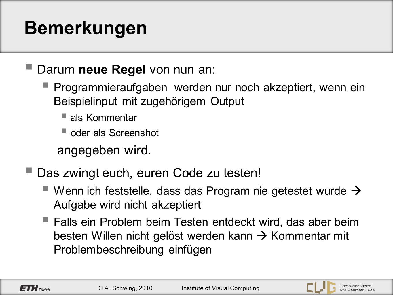 © A. Schwing, 2010Institute of Visual Computing Bemerkungen Darum neue Regel von nun an: Programmieraufgaben werden nur noch akzeptiert, wenn ein Beis