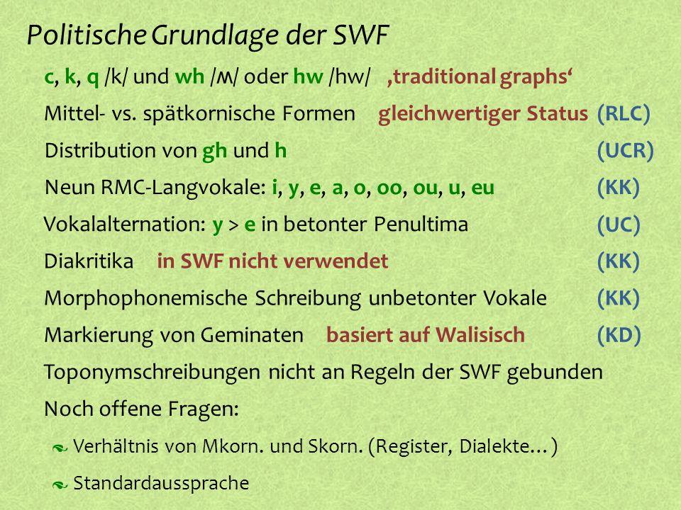 º Diakritika c, k, q /k/ und wh / ʍ / oder hw /hw/ Politische Grundlage der SWF,traditional graphs º Mittel- vs. spätkornische Formen gleichwertiger S