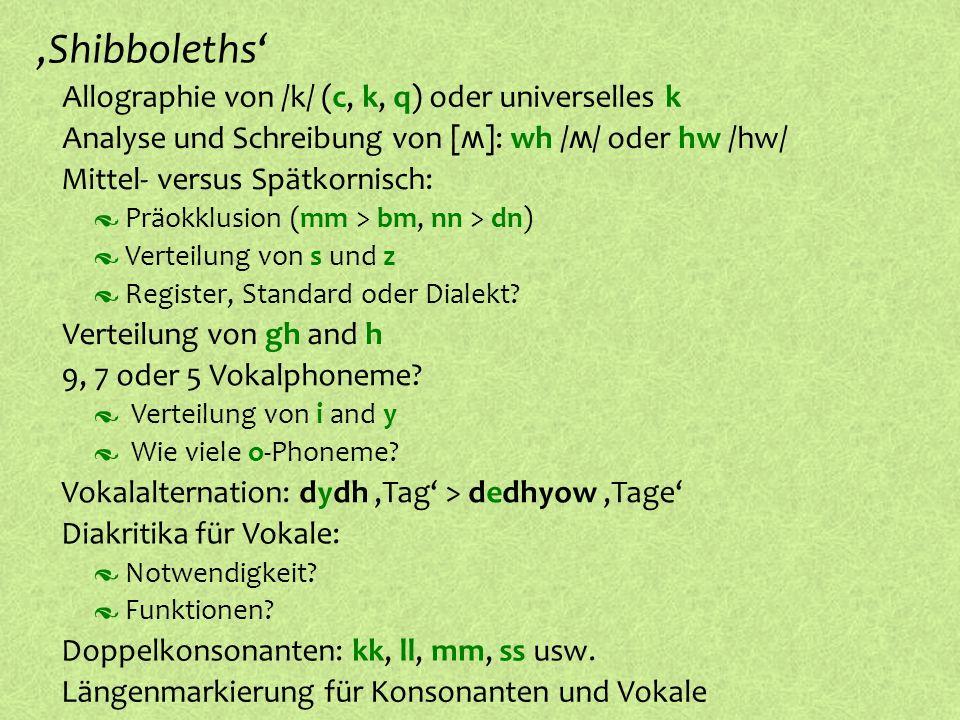 º Allographie von /k/ (c, k, q) oder universelles k º Doppelkonsonanten: kk, ll, mm, ss usw.,Shibboleths Präokklusion (mm > bm, nn > dn) º Mittel- ver