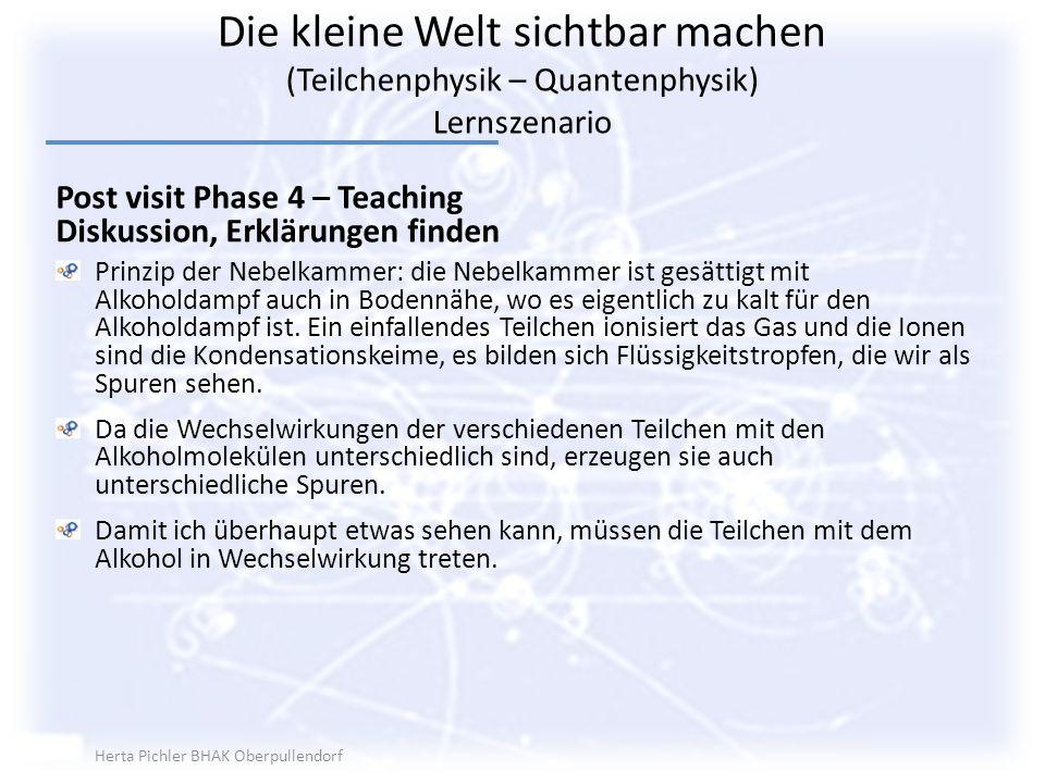 Die kleine Welt sichtbar machen (Teilchenphysik – Quantenphysik) Lernszenario Post visit Phase 4 – Teaching Diskussion, Erklärungen finden Prinzip der