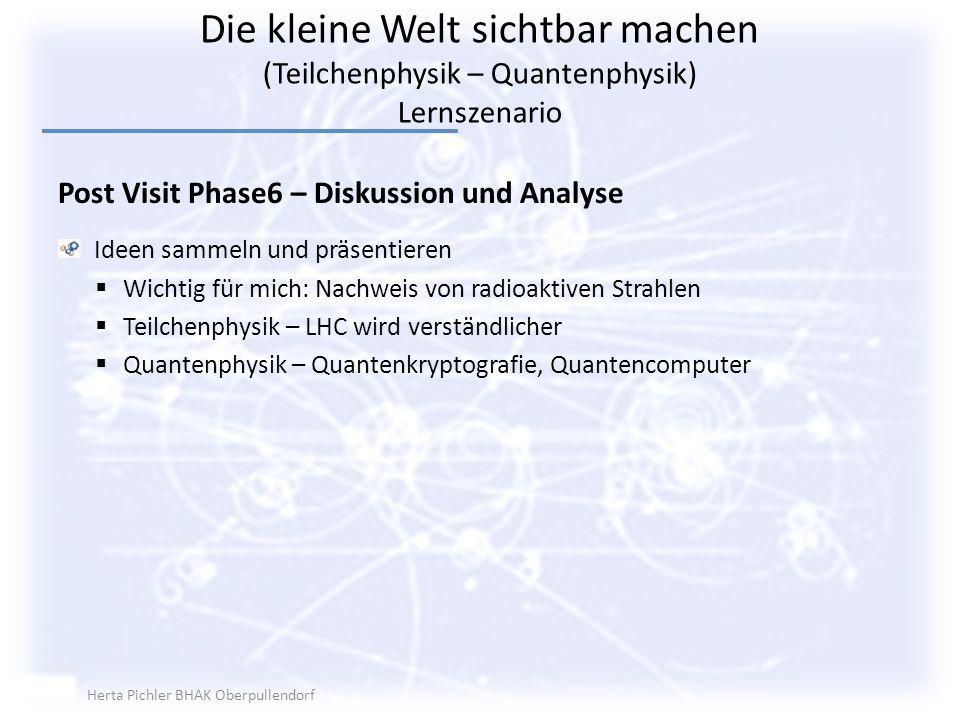 Die kleine Welt sichtbar machen (Teilchenphysik – Quantenphysik) Lernszenario Post Visit Phase6 – Diskussion und Analyse Ideen sammeln und präsentiere