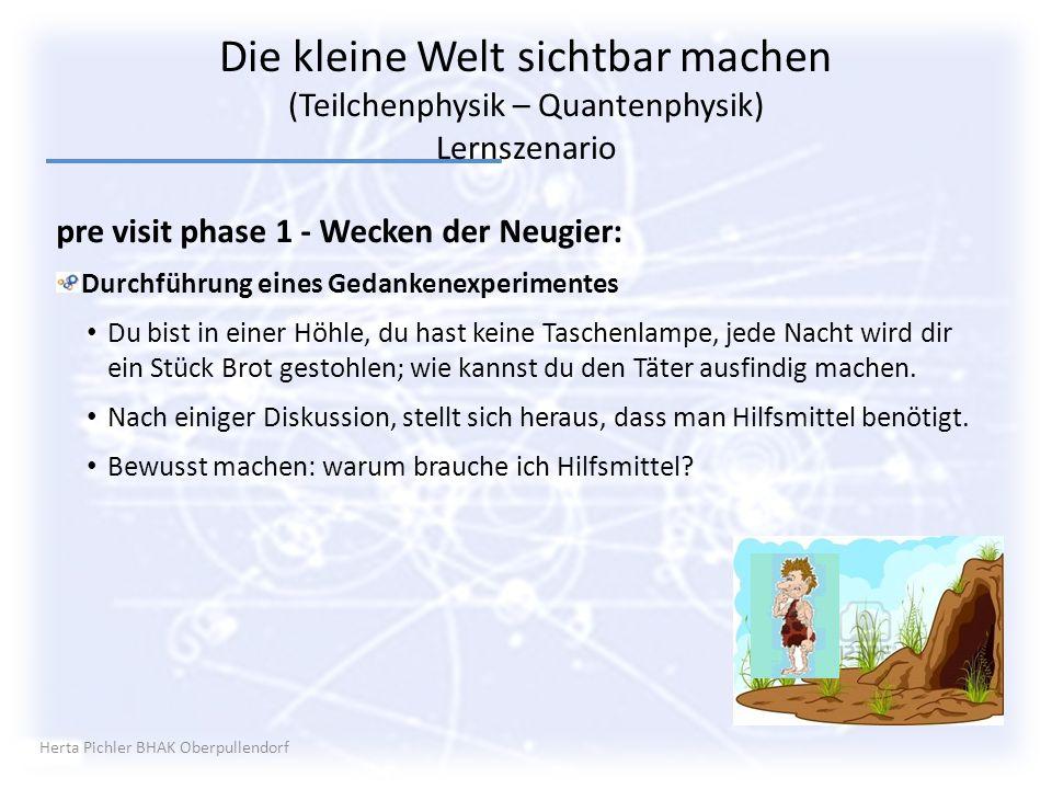 Herta Pichler BHAK Oberpullendorf pre visit phase 1 - Wecken der Neugier: Durchführung eines Gedankenexperimentes Du bist in einer Höhle, du hast kein
