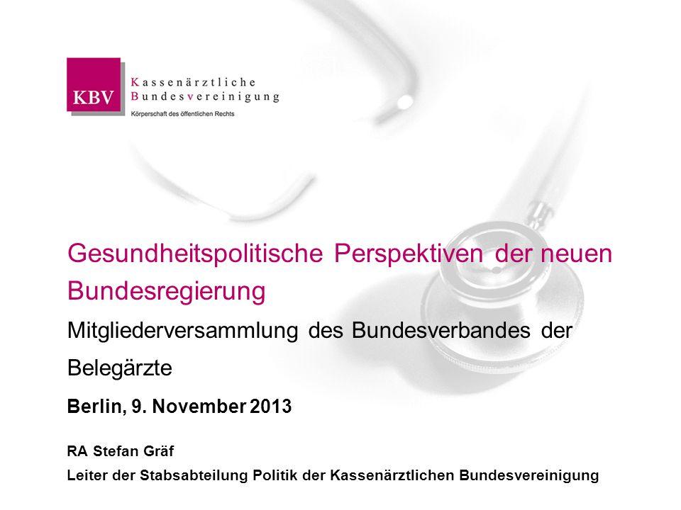 Gesundheitspolitische Perspektiven der neuen Bundesregierung Mitgliederversammlung des Bundesverbandes der Belegärzte Berlin, 9. November 2013 RA Stef