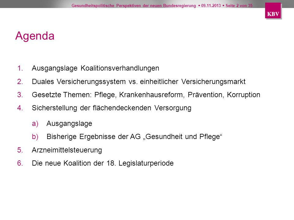 Gesundheitspolitische Perspektiven der neuen Bundesregierung 09.11.2013 Seite 2 von 35 Agenda 1.Ausgangslage Koalitionsverhandlungen 2.Duales Versiche
