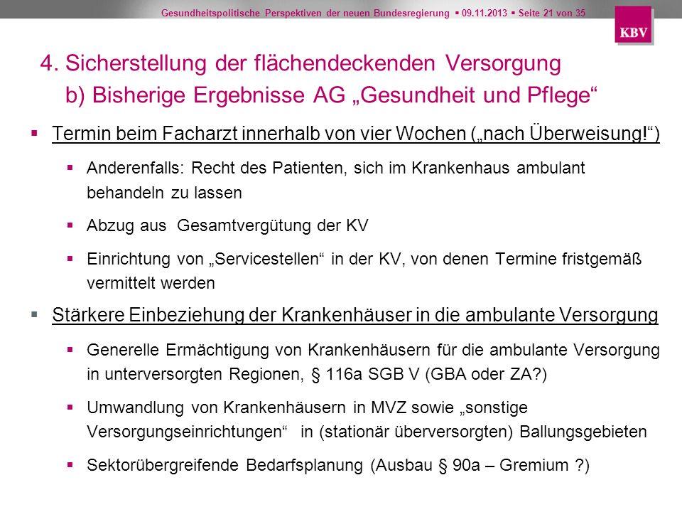 Gesundheitspolitische Perspektiven der neuen Bundesregierung 09.11.2013 Seite 21 von 35 4. Sicherstellung der flächendeckenden Versorgung b) Bisherige