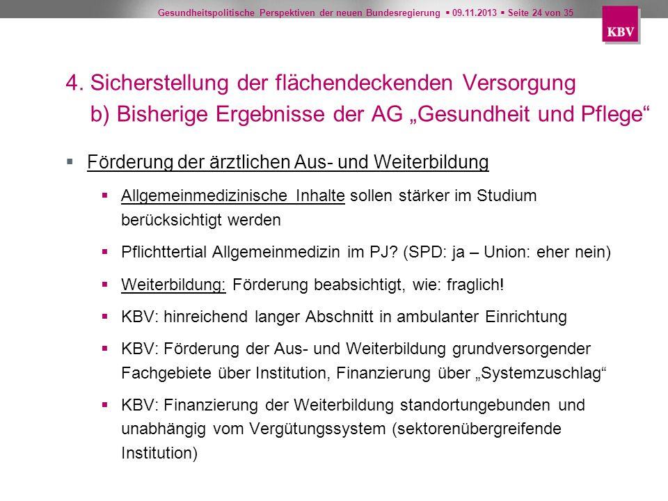 Gesundheitspolitische Perspektiven der neuen Bundesregierung 09.11.2013 Seite 24 von 35 4. Sicherstellung der flächendeckenden Versorgung b) Bisherige