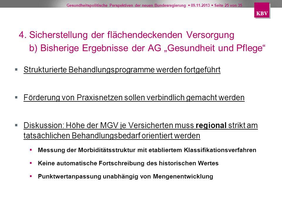 Gesundheitspolitische Perspektiven der neuen Bundesregierung 09.11.2013 Seite 25 von 35 4. Sicherstellung der flächendeckenden Versorgung b) Bisherige