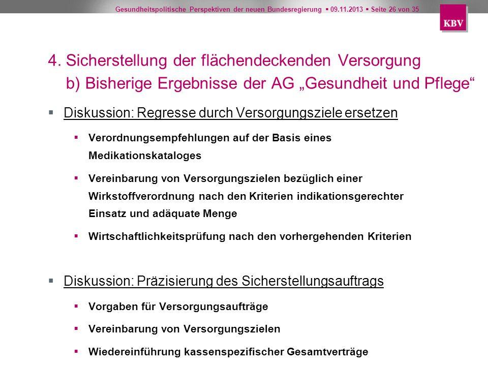 Gesundheitspolitische Perspektiven der neuen Bundesregierung 09.11.2013 Seite 26 von 35 4. Sicherstellung der flächendeckenden Versorgung b) Bisherige