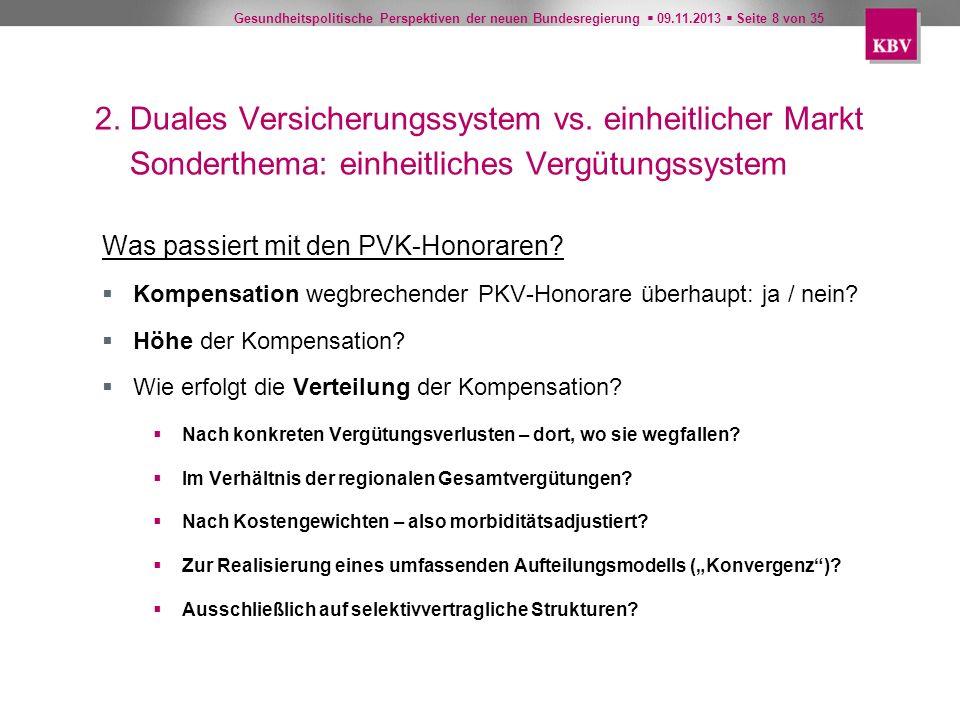Gesundheitspolitische Perspektiven der neuen Bundesregierung 09.11.2013 Seite 8 von 35 2. Duales Versicherungssystem vs. einheitlicher Markt Sonderthe