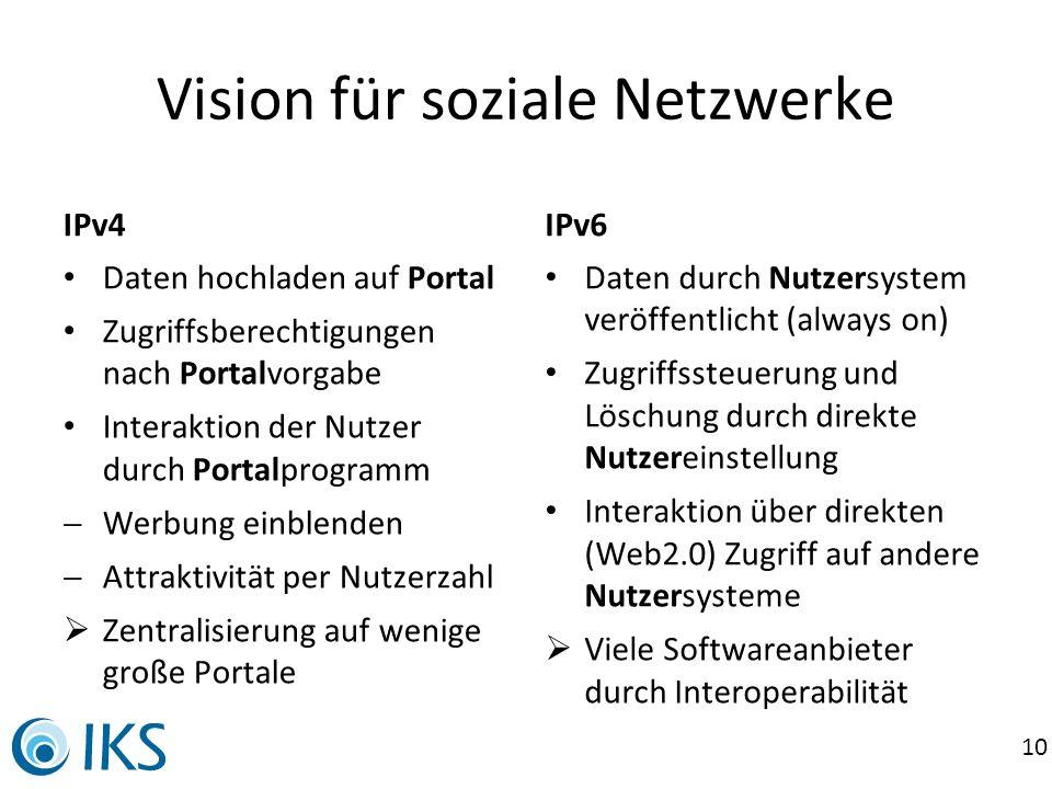10 Vision für soziale Netzwerke IPv4 Daten hochladen auf Portal Zugriffsberechtigungen nach Portalvorgabe Interaktion der Nutzer durch Portalprogramm