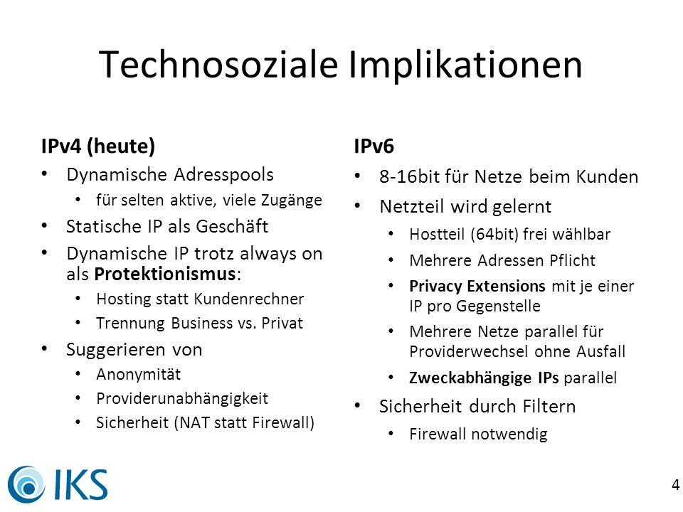 4 Technosoziale Implikationen IPv4 (heute) Dynamische Adresspools für selten aktive, viele Zugänge Statische IP als Geschäft Dynamische IP trotz alway