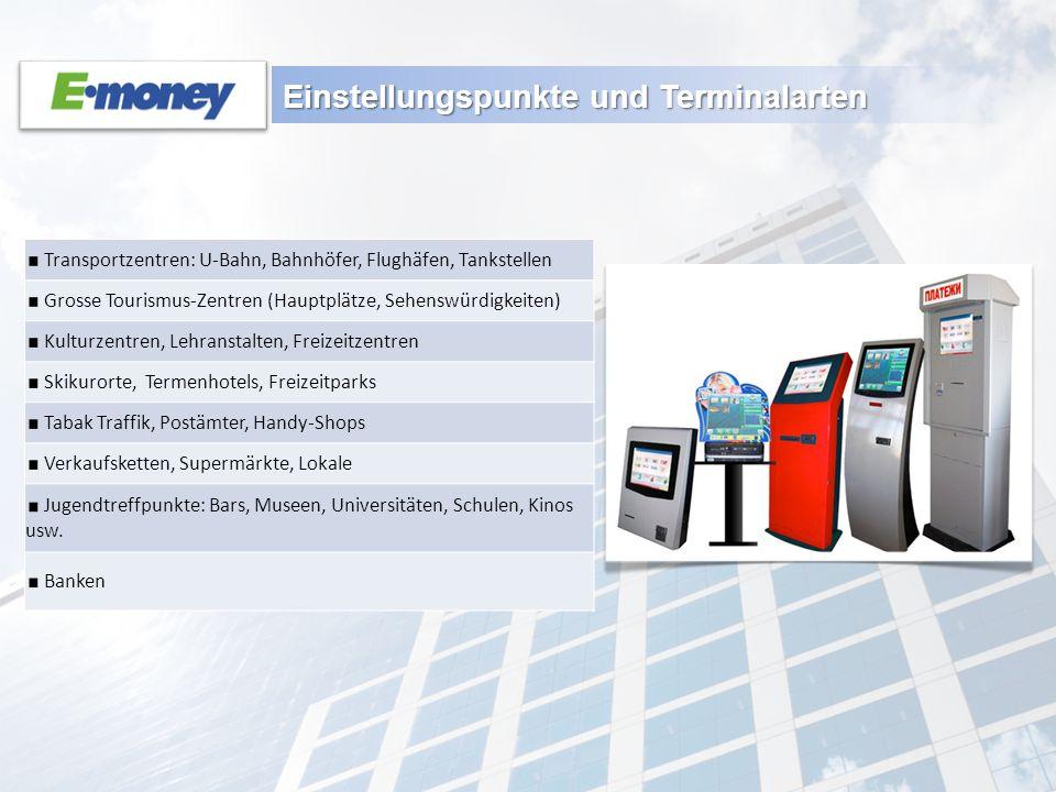 Einstellungspunkte und Terminalarten Transportzentren: U-Bahn, Bahnhöfer, Flughäfen, Tankstellen Grosse Tourismus-Zentren (Hauptplätze, Sehenswürdigke