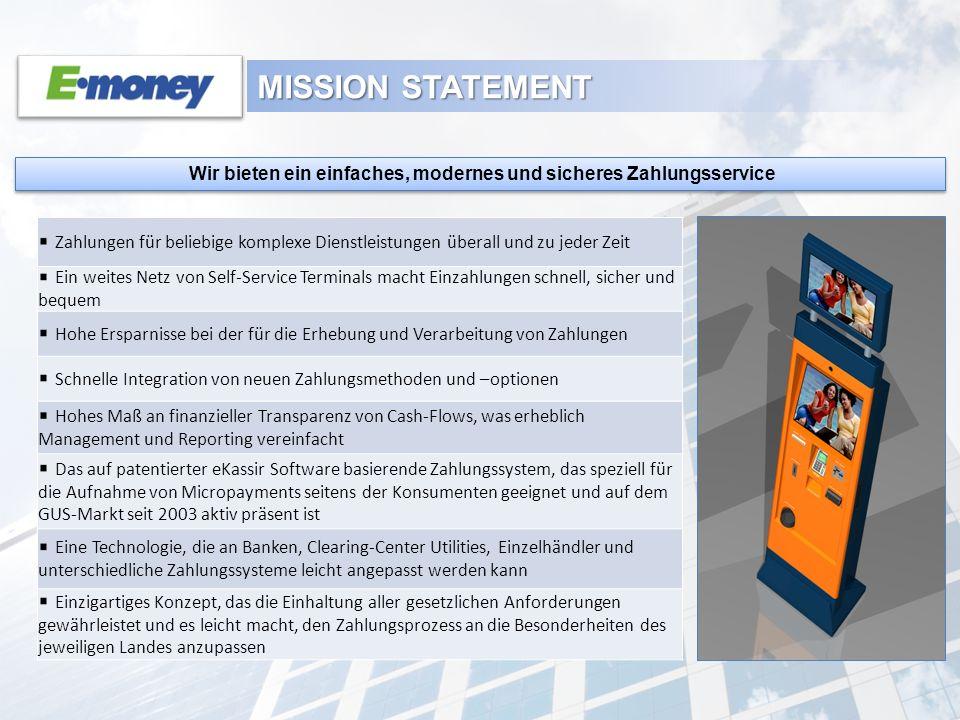 MISSION STATEMENT Wir bieten ein einfaches, modernes und sicheres Zahlungsservice Zahlungen für beliebige komplexe Dienstleistungen überall und zu jed