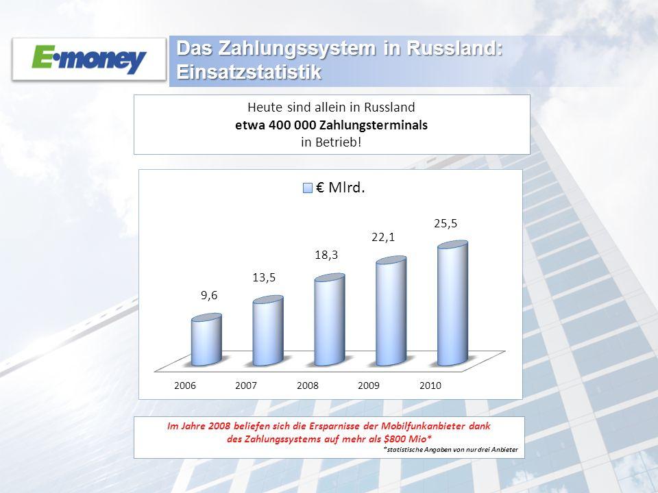 Das Zahlungssystem in Russland: Einsatzstatistik Im Jahre 2008 beliefen sich die Ersparnisse der Mobilfunkanbieter dank des Zahlungssystems auf mehr a
