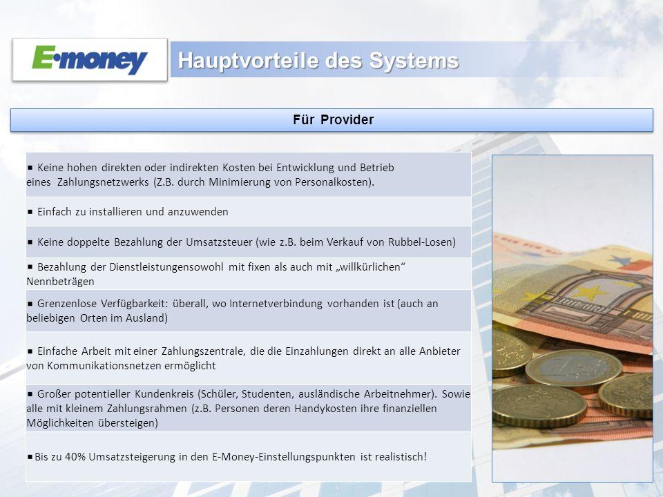 Hauptvorteile des Systems Für Provider Keine hohen direkten oder indirekten Kosten bei Entwicklung und Betrieb eines Zahlungsnetzwerks (Z.B. durch Min