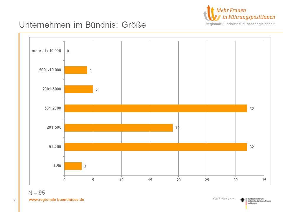 www.regionale-buendnisse.de Gefördert vom Unternehmen im Bündnis: Größe 5 N = 95