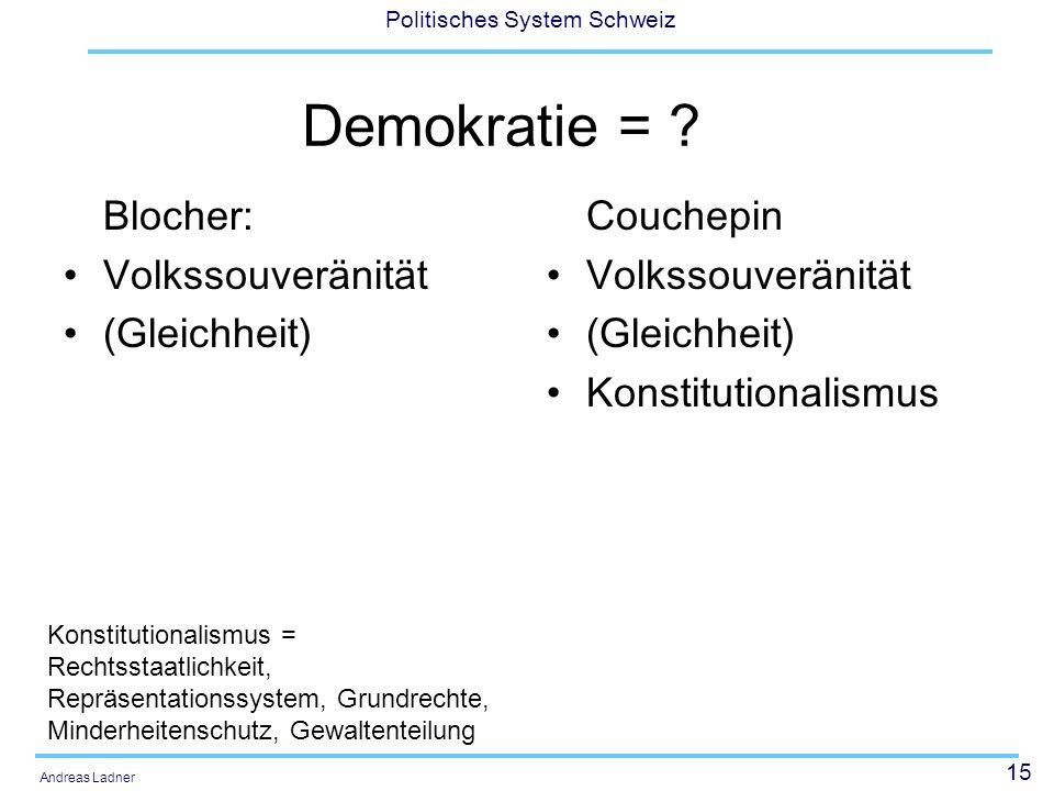15 Politisches System Schweiz Andreas Ladner Demokratie = ? Blocher: Volkssouveränität (Gleichheit) Couchepin Volkssouveränität (Gleichheit) Konstitut
