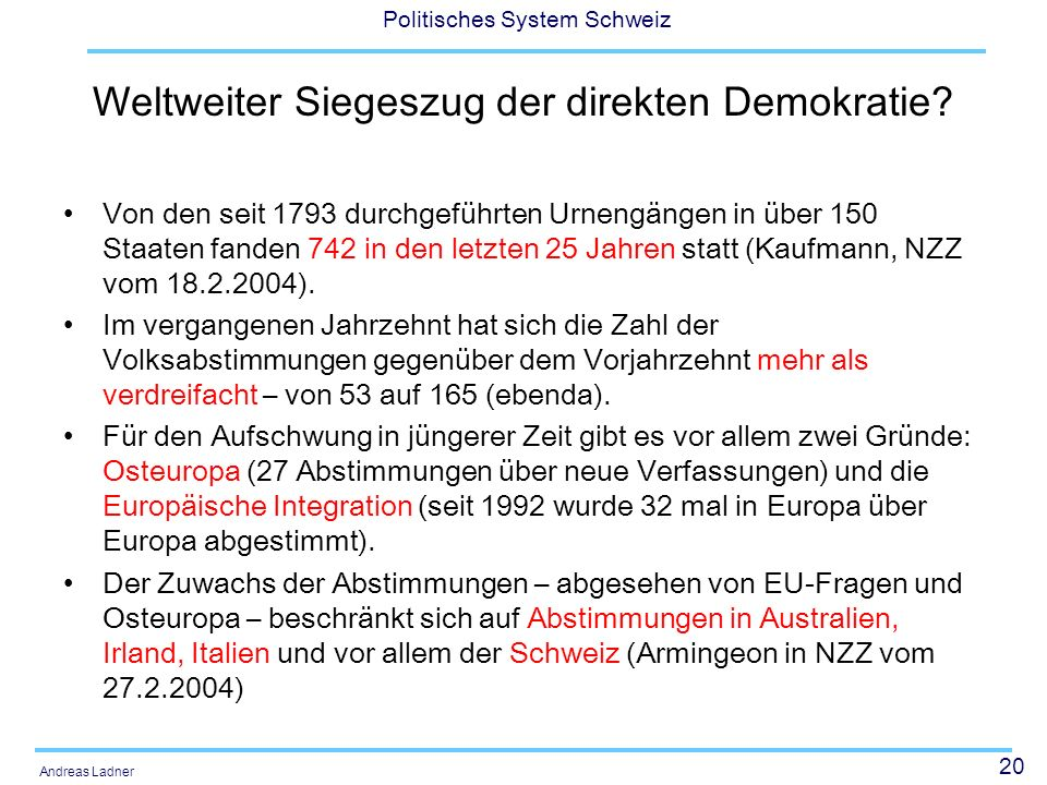20 Politisches System Schweiz Andreas Ladner Weltweiter Siegeszug der direkten Demokratie? Von den seit 1793 durchgeführten Urnengängen in über 150 St