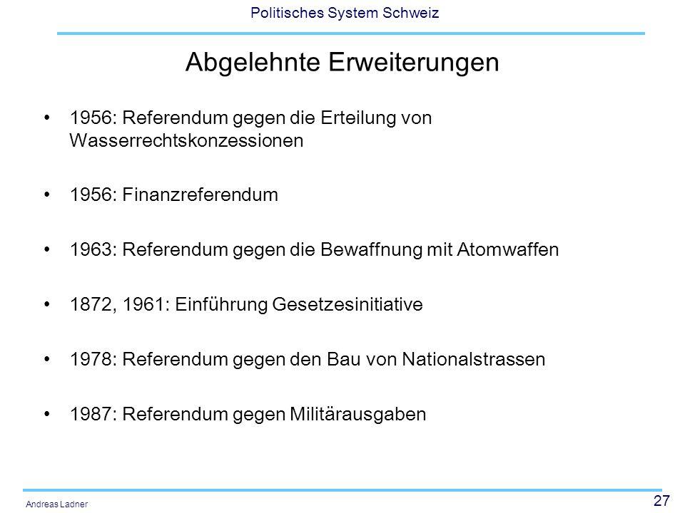 27 Politisches System Schweiz Andreas Ladner Abgelehnte Erweiterungen 1956: Referendum gegen die Erteilung von Wasserrechtskonzessionen 1956: Finanzre