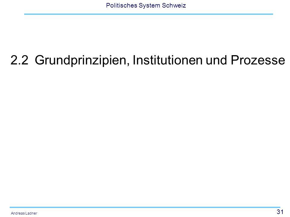 31 Politisches System Schweiz Andreas Ladner 2.2Grundprinzipien, Institutionen und Prozesse