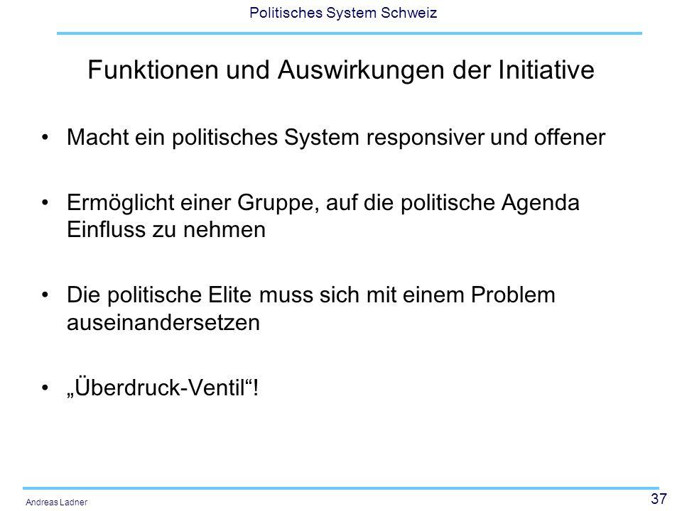 37 Politisches System Schweiz Andreas Ladner Funktionen und Auswirkungen der Initiative Macht ein politisches System responsiver und offener Ermöglich