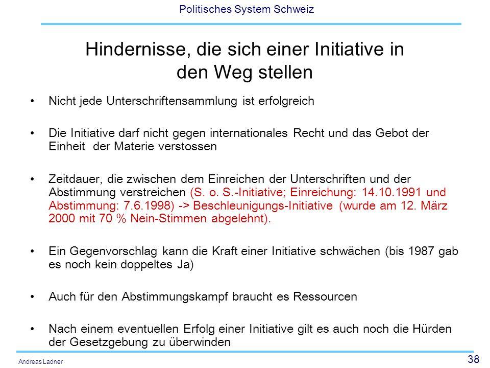 38 Politisches System Schweiz Andreas Ladner Hindernisse, die sich einer Initiative in den Weg stellen Nicht jede Unterschriftensammlung ist erfolgrei