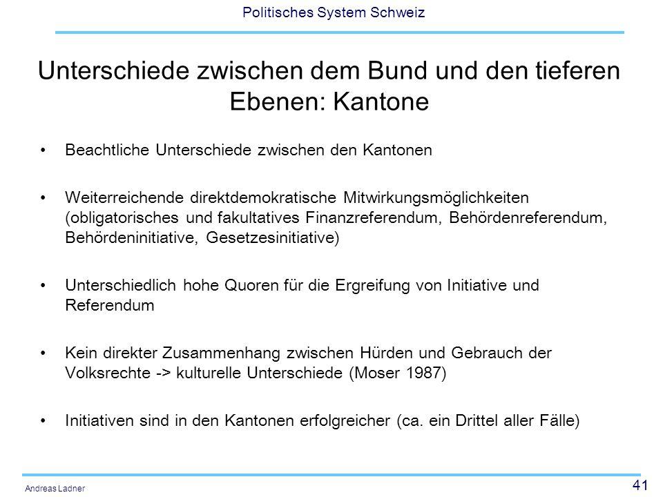 41 Politisches System Schweiz Andreas Ladner Unterschiede zwischen dem Bund und den tieferen Ebenen: Kantone Beachtliche Unterschiede zwischen den Kan