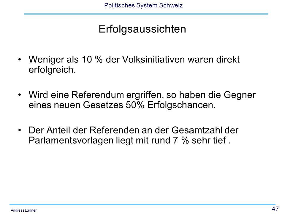 47 Politisches System Schweiz Andreas Ladner Erfolgsaussichten Weniger als 10 % der Volksinitiativen waren direkt erfolgreich. Wird eine Referendum er
