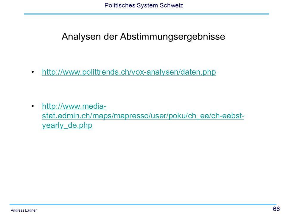 66 Politisches System Schweiz Andreas Ladner Analysen der Abstimmungsergebnisse http://www.polittrends.ch/vox-analysen/daten.php http://www.media- sta