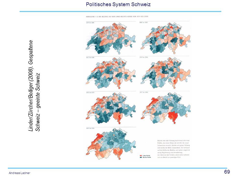 69 Politisches System Schweiz Andreas Ladner Linder/Zürcher/Bolliger (2008). Gespaltene Schweiz – geeinte Schweiz