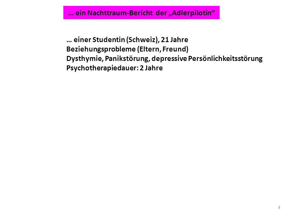 4 … einer Studentin (Schweiz), 21 Jahre Beziehungsprobleme (Eltern, Freund) Dysthymie, Panikstörung, depressive Persönlichkeitsstörung Psychotherapied