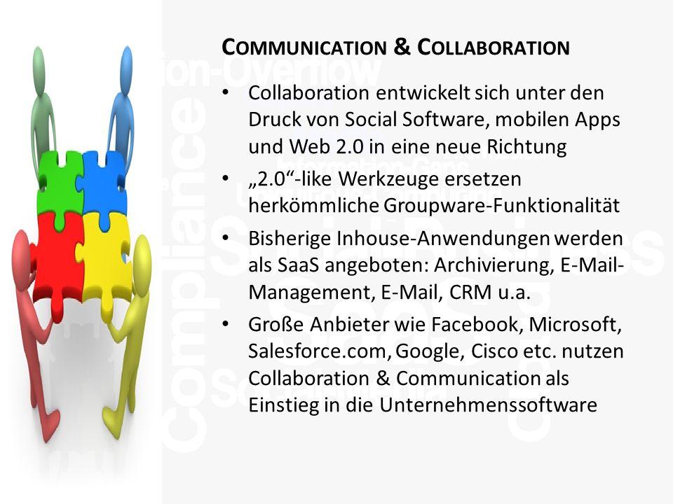 >Titel<>Veranstaltung<>Referent<>Datei< 23 C OMMUNICATION & C OLLABORATION Collaboration entwickelt sich unter den Druck von Social Software, mobilen Apps und Web 2.0 in eine neue Richtung 2.0-like Werkzeuge ersetzen herkömmliche Groupware-Funktionalität Bisherige Inhouse-Anwendungen werden als SaaS angeboten: Archivierung, E-Mail- Management, E-Mail, CRM u.a.