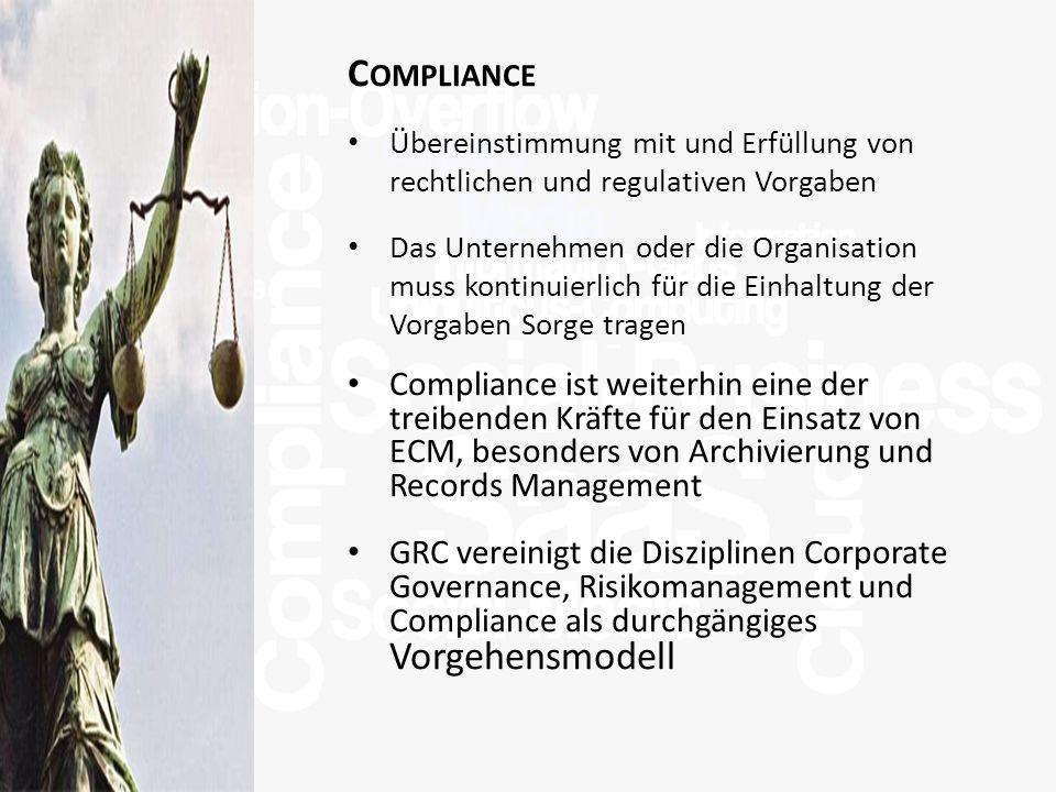 >Titel<>Veranstaltung<>Referent<>Datei< 25 C OMPLIANCE Übereinstimmung mit und Erfüllung von rechtlichen und regulativen Vorgaben Das Unternehmen oder die Organisation muss kontinuierlich für die Einhaltung der Vorgaben Sorge tragen Compliance ist weiterhin eine der treibenden Kräfte für den Einsatz von ECM, besonders von Archivierung und Records Management GRC vereinigt die Disziplinen Corporate Governance, Risikomanagement und Compliance als durchgängiges Vorgehensmodell