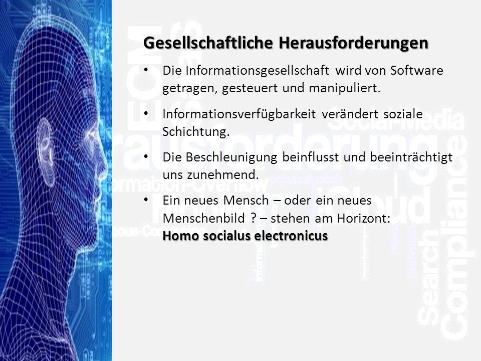 >Titel<>Veranstaltung<>Referent<>Datei< 48 Gesellschaftliche Herausforderungen Die Informationsgesellschaft wird von Software getragen, gesteuert und manipuliert.