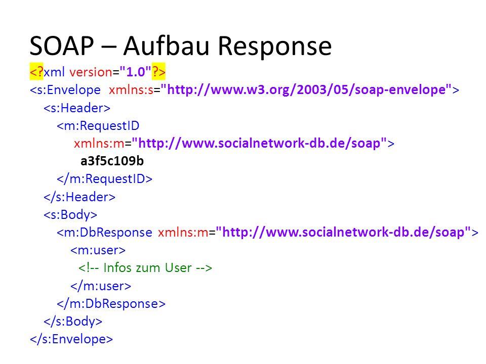 SOAP – Aufbau Response <m:RequestID xmlns:m= http://www.socialnetwork-db.de/soap > a3f5c109b