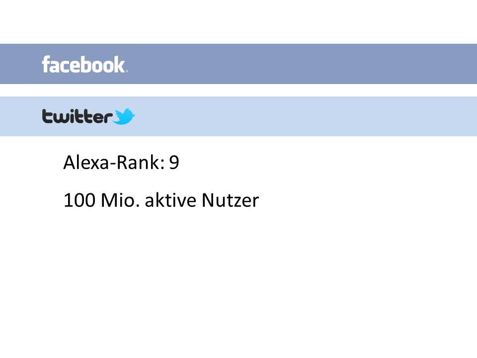 Alexa-Rank: 9 100 Mio. aktive Nutzer