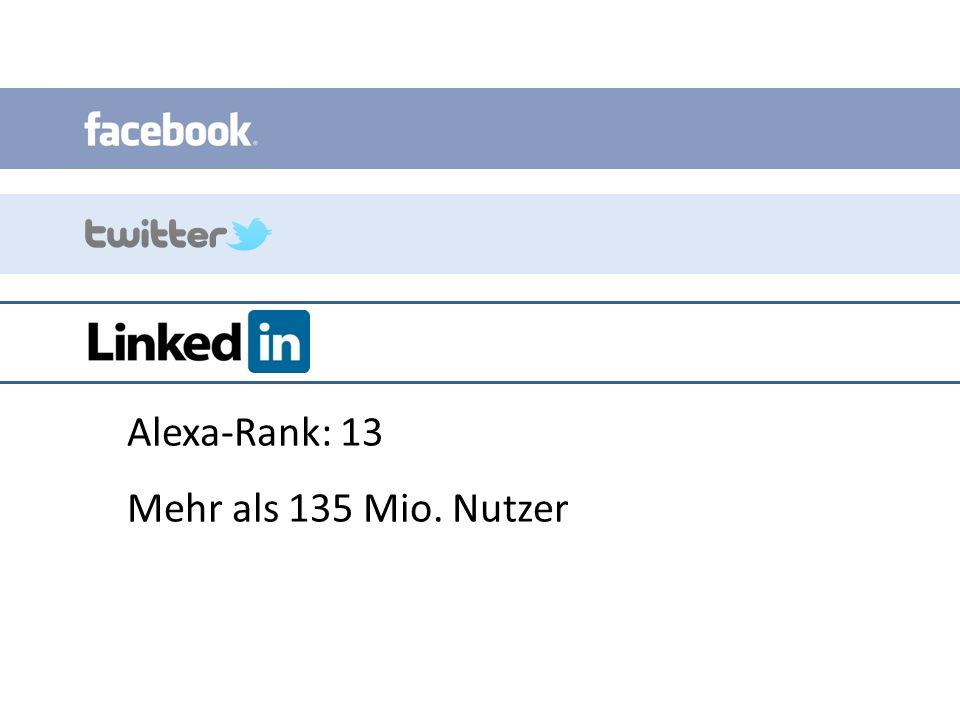 Alexa-Rank: 13 Mehr als 135 Mio. Nutzer