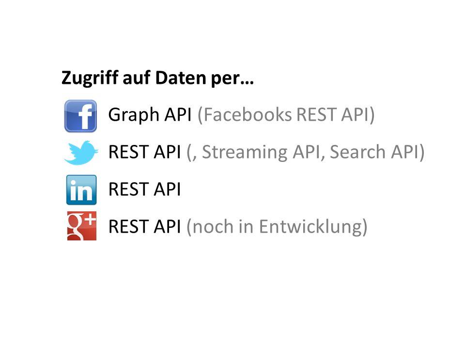 Zugriff auf Daten per… Graph API (Facebooks REST API) REST API (, Streaming API, Search API) REST API REST API (noch in Entwicklung)