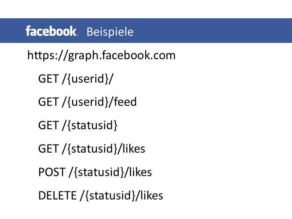 https://graph.facebook.com GET /{userid}/ GET /{userid}/feed GET /{statusid} GET /{statusid}/likes POST /{statusid}/likes DELETE /{statusid}/likes Beispiele