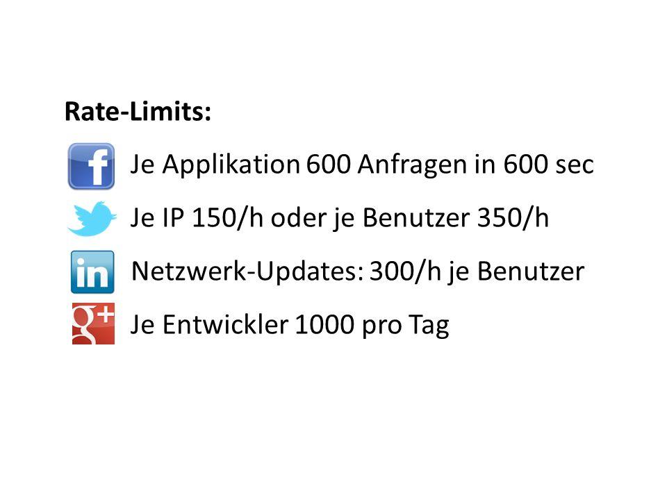 Rate-Limits: Je Applikation 600 Anfragen in 600 sec Je IP 150/h oder je Benutzer 350/h Netzwerk-Updates: 300/h je Benutzer Je Entwickler 1000 pro Tag