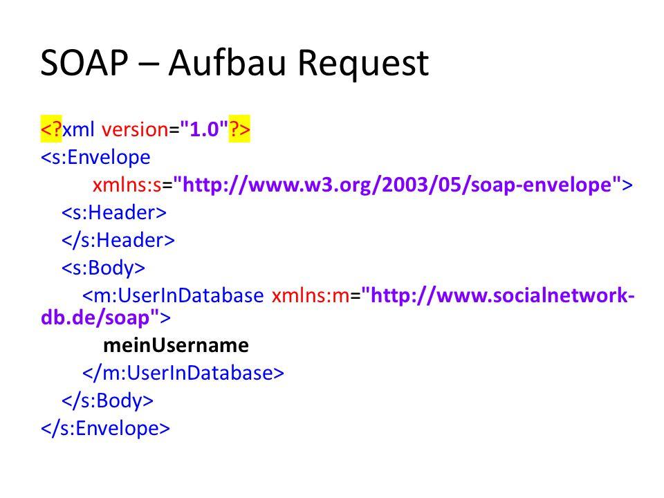 SOAP – Aufbau Request <s:Envelope xmlns:s= http://www.w3.org/2003/05/soap-envelope > meinUsername