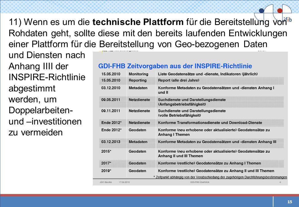 15 11) Wenn es um die technische Plattform für die Bereitstellung von Rohdaten geht, sollte diese mit den bereits laufenden Entwicklungen einer Plattform für die Bereitstellung von Geo-bezogenen Daten und Diensten nach Anhang IIII der INSPIRE-Richtlinie abgestimmt werden, um Doppelarbeiten- und –investitionen zu vermeiden