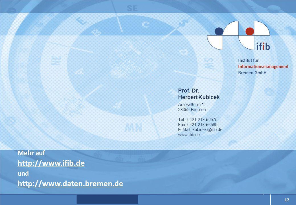 Mehr auf http://www.ifib.de und http://www.daten.bremen.de 17 Prof.