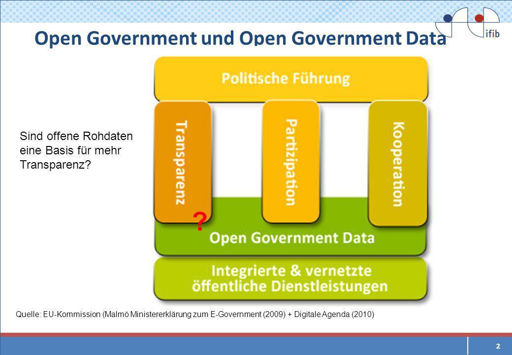 1) Die Open-Data-Bewegung verspricht neben der Förderung von Innovationen und Wirtschafts- wachstum auch mehr Transparenz in Politik und Verwaltung zu schaffen - durch die Bereitstellung von Rohdaten - in technisch offenen Formaten - zu Lizenzbedingungen, die eine unentgeltliche Weiterverarbeitung erlauben.