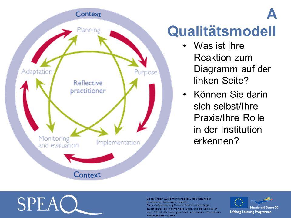 Was ist Ihre Reaktion zum Diagramm auf der linken Seite? Können Sie darin sich selbst/Ihre Praxis/Ihre Rolle in der Institution erkennen? A Qualitätsm