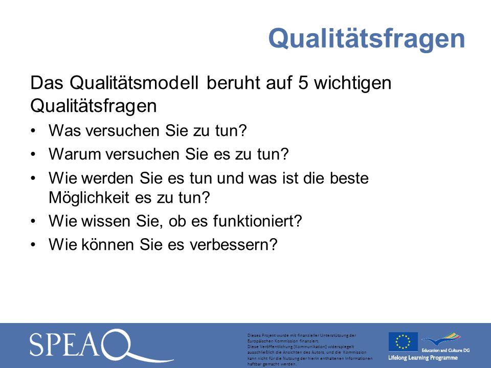 Das Qualitätsmodell beruht auf 5 wichtigen Qualitätsfragen Was versuchen Sie zu tun? Warum versuchen Sie es zu tun? Wie werden Sie es tun und was ist