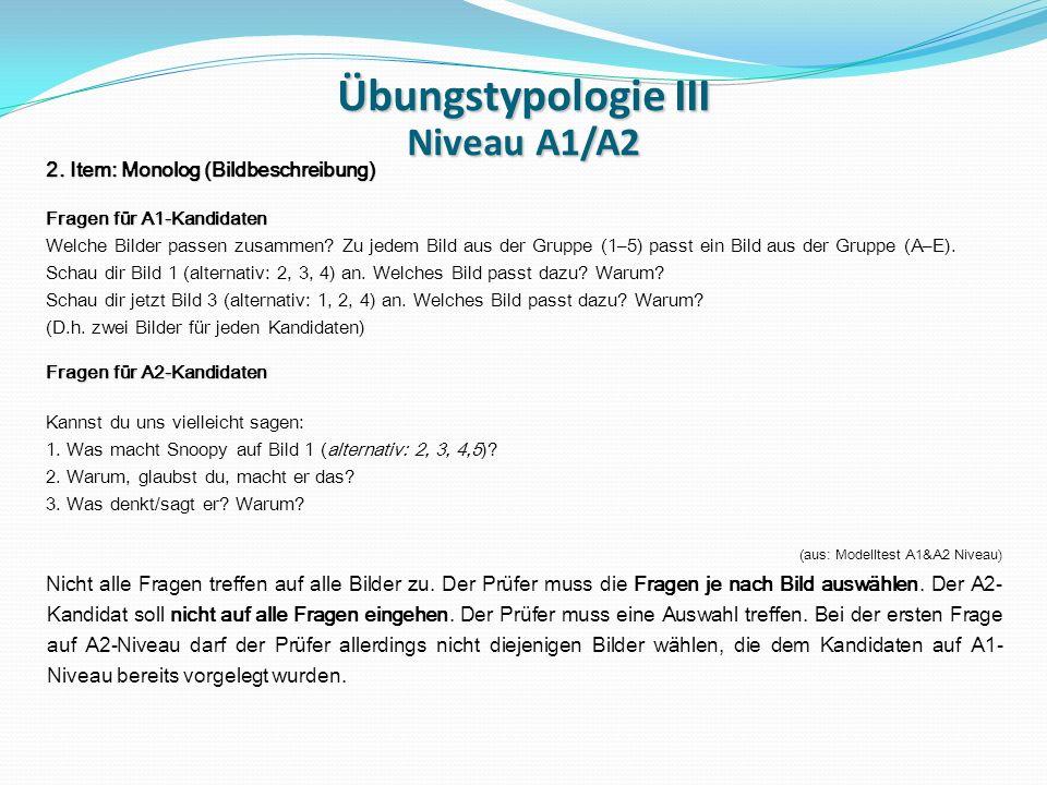 Übungstypologie III Niveau A1/A2 2.